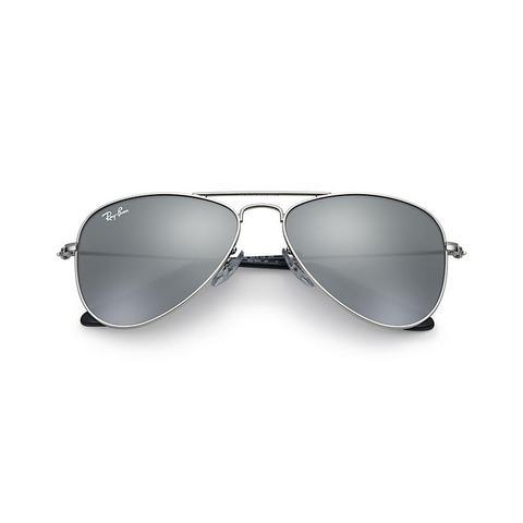 Aviator Junior Unisex Sunglasses Lentes: Gris, Montura: Plata