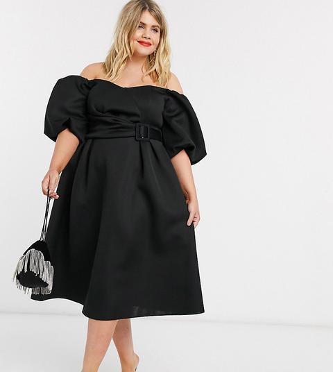 Asos Design Curve - Robe De Bal De Promo Mi-longue Style Bardot Avec Manches Bouffantes Et Ceinture - Noir