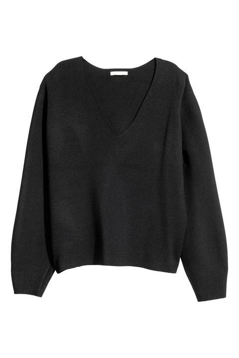 schwarzer pullover damen v ausschnitt