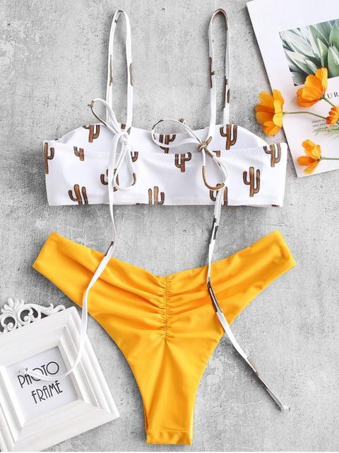 Bikini Reversible De Hombro Con Lazo De Cactus Saffron Blue Koi White