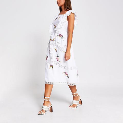 White Embroidered Sleeveless Midi Dress