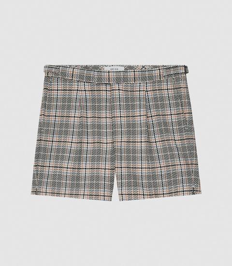 Reiss Otis - Tailored Check Shorts In Multi