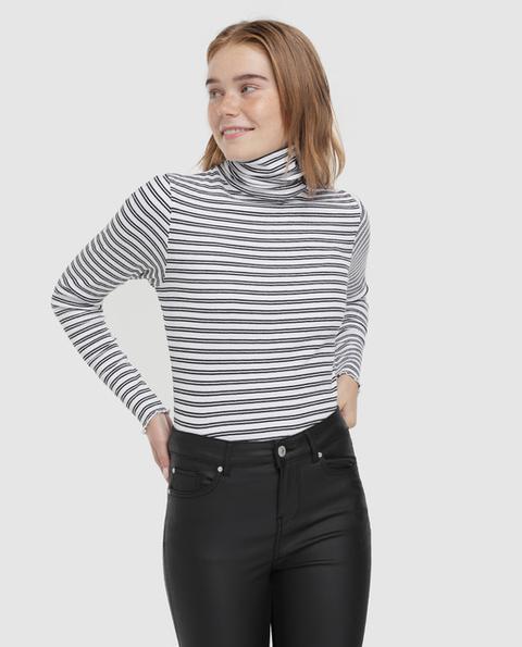 Easy Wear - Camiseta De Canale De Mujer De Rayas Cuello Cisne