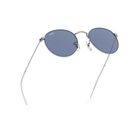 Round Metal Junior Unisex Sunglasses Lentes: Azul, Montura: Plata