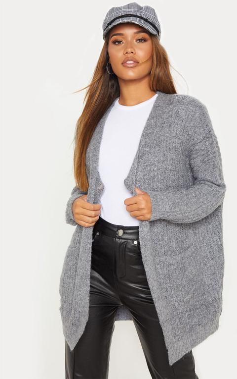 Grey Oversized Knitted Cardigan