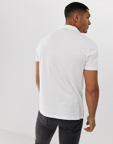 Asos Design Organic Polo With Revere Collar In White