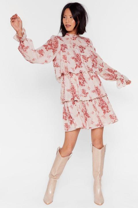 Dressing Gown Courte Fleurie Avec Col Montant Une Vraie Beauté - Beige - 36, Beige