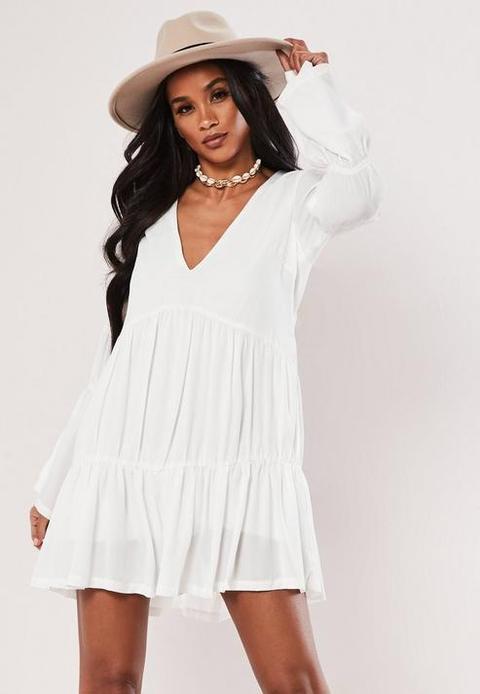 White Tiered Smock Dress, White