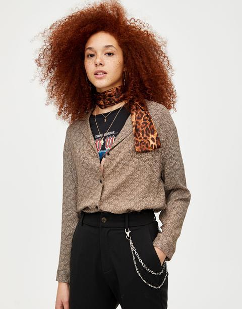 Camisa Leopardo Manga Larga