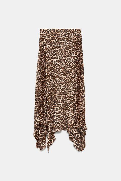 Falda Plisada Estampado Animal