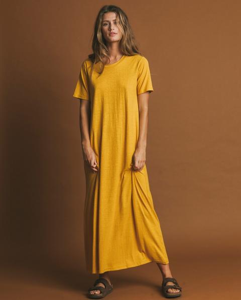 Vestido De Hemp Oueme Mustard de Thinking Mu en 21 Buttons