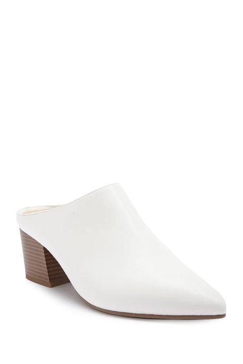 Forever 21 Block Heel Mules White from