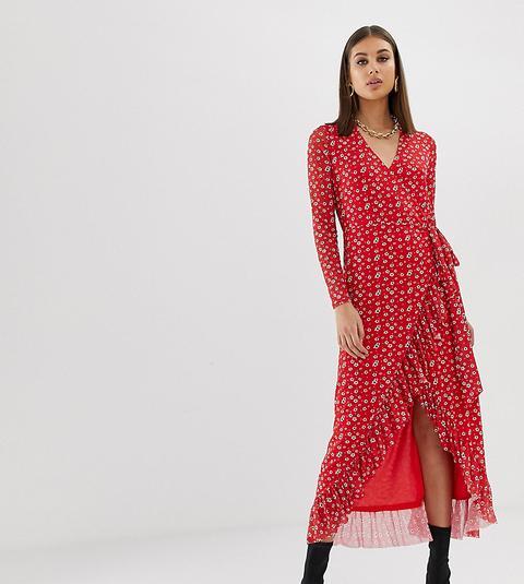 Vestido Cruzado Con Volante Y Estampado Floral En Rojo De Na-kd