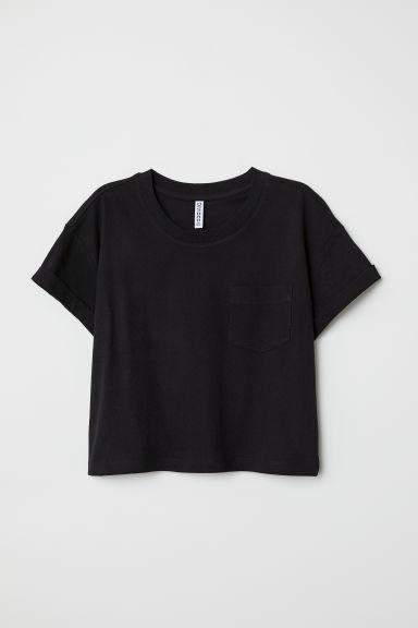 H & M - T-shirt Court - Noir