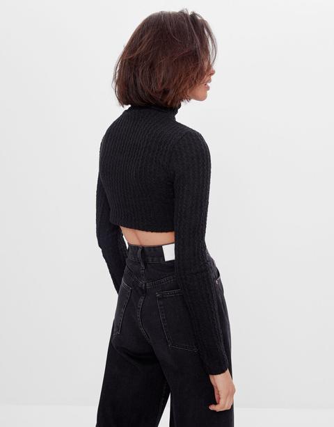 Jersey Cropped Cuello Alto
