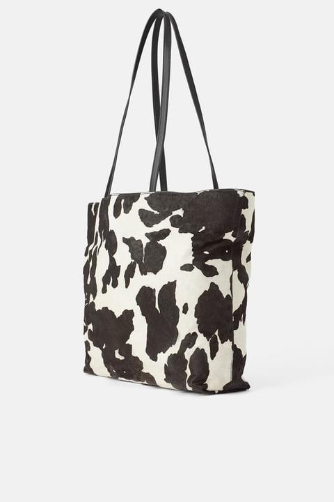 Bolso Shopper Piel Estampado Animal de Zara en 21 Buttons