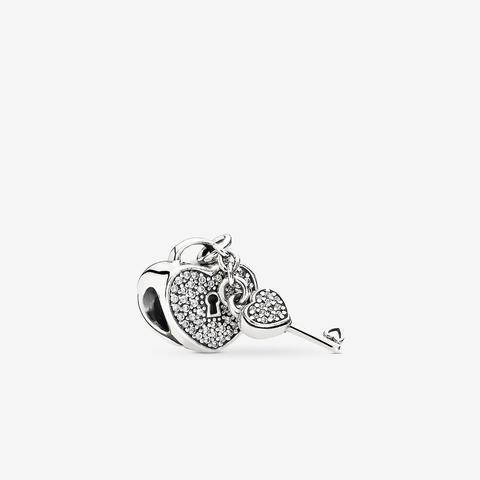 Pandora Pavé Padlock Heart & Key Charm - Sterling Silver / Clear from Pandora on 21 Buttons