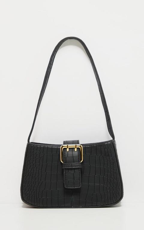 Black Croc Buckle Front Shoulder Bag