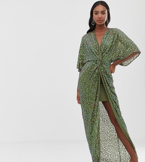 Vestido Largo Estilo Kimono Con Nudo En La Parte Delantera Y Lentejuelas Dispersas De Asos Design Tall de ASOS en 21 Buttons