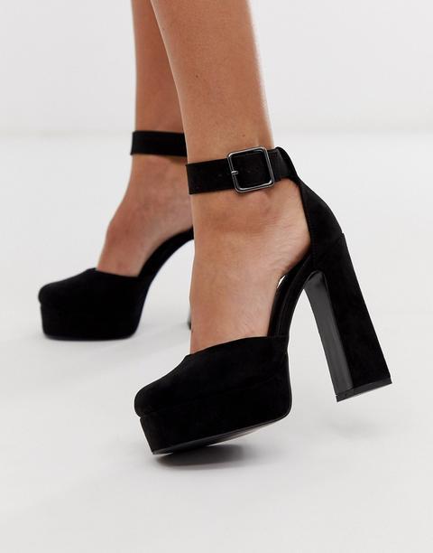 Zapatos Negros De Tacón Alto Con Plataforma Presta De Asos Design