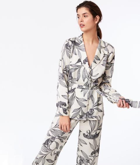 taille 40 4a23c 4d813 Chemise De Pyjama Nouée À Imprimé Floral - Jarta - Xl - Ecru - Femme - Etam  from Etam on 21 Buttons