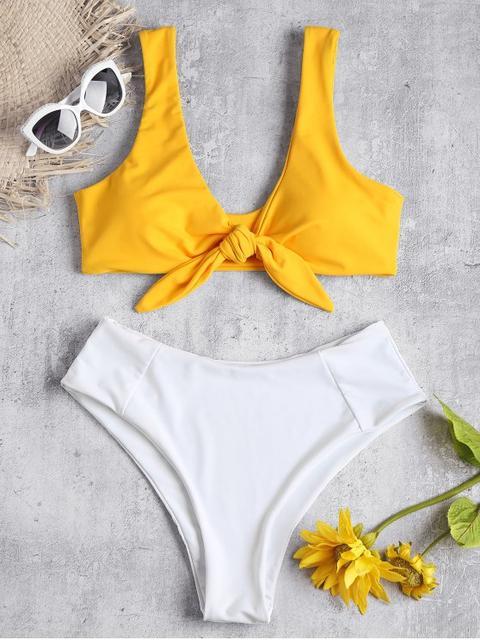 Bikini De Cintura Alta Con Dos Tonos Atados Bee Yellow Pink Bow Blue Gray Mango Orange Camouflage Green