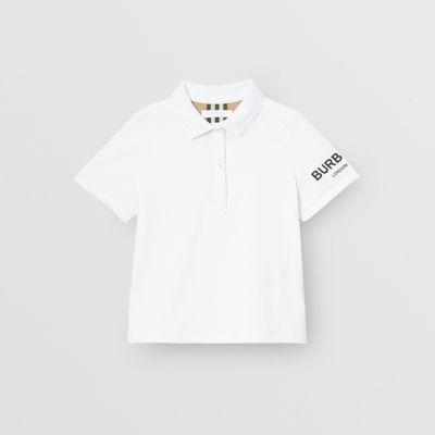 Polo En Piqué De Algodón Con Logotipo Estampado (blanco) - Niña | Burberry de Burberry en 21 Buttons