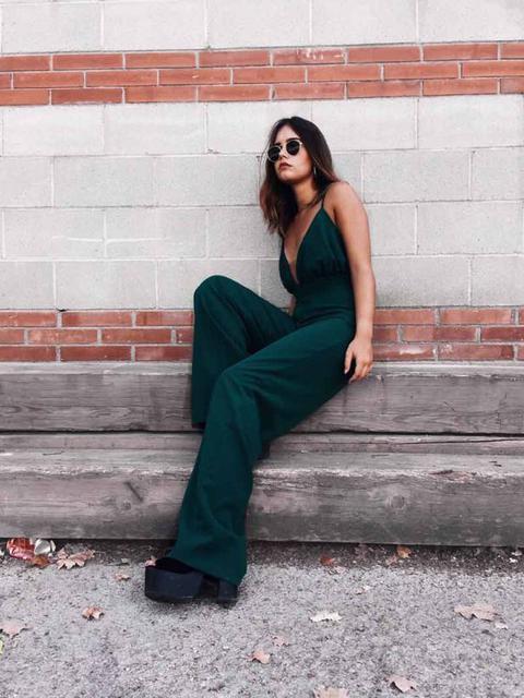 Wide-leg Green Jumpsuit