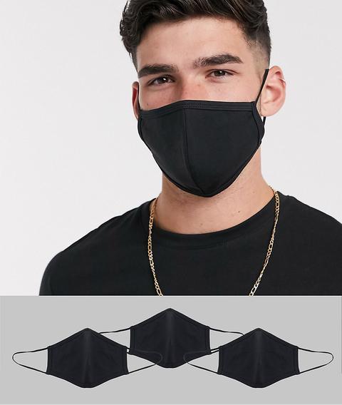 Pack De 3 Mascarillas En Punto Negro De Asos Design