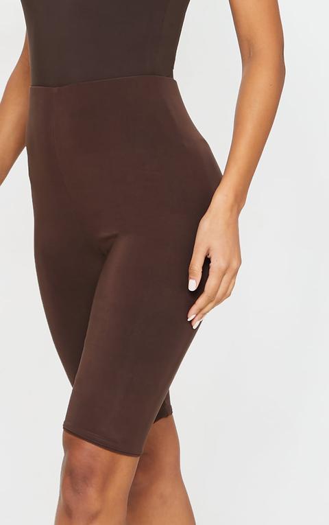 Short-legging Chocolat Taille Haute, Chocolat