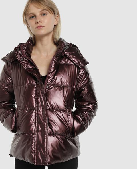 Easy Wear - Plumífero De Mujer Con Capucha Y Tejido Brillante de Easy Wear en 21 Buttons