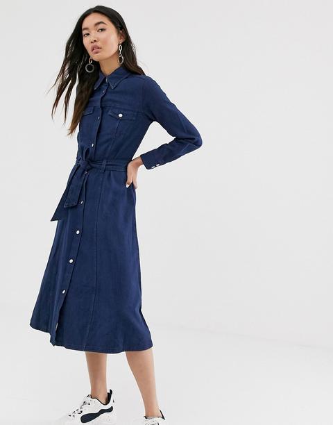 Vestido Midi Denim De Algodón Orgánico Con Lazada A La Cintura En Azul Oscuro De Monki de ASOS en 21 Buttons