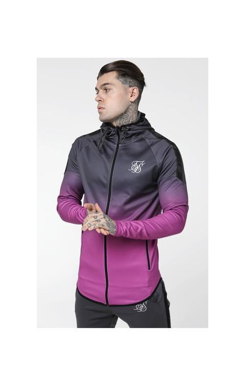 Siksilk Raglan Athlete Fade Taped Hoodie - Grey & Pink de sik silk en 21 Buttons
