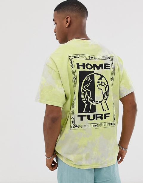 Camiseta Con Diseño Teñido Anudado En Verde Home Turf De New Look