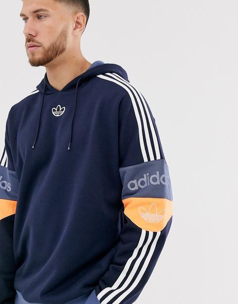 Sudadera Con Capucha Azul Marino Con Logo Y Trifolio En El Centro De Adidas Originals