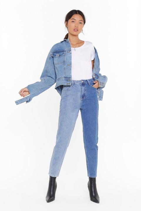 Jean Mom Bicolore À Taille Haute - Bleu - Xl, Bleu