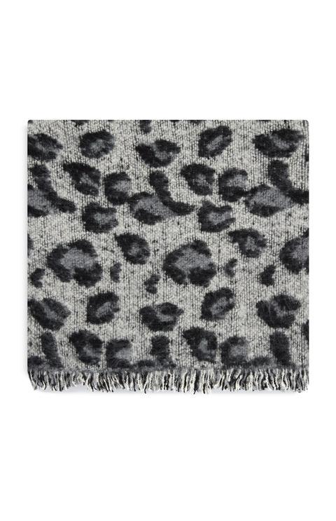 Bufanda Lana Rizada Estampado Leopardo