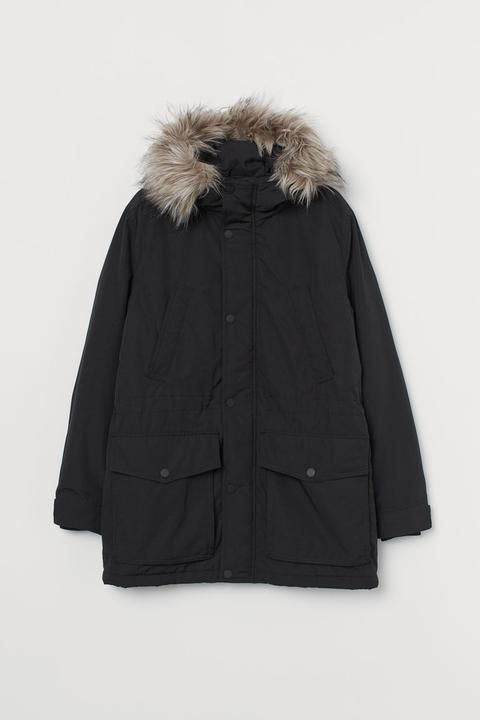 Parka Acolchada Con Capucha - Negro de H&M en 21 Buttons
