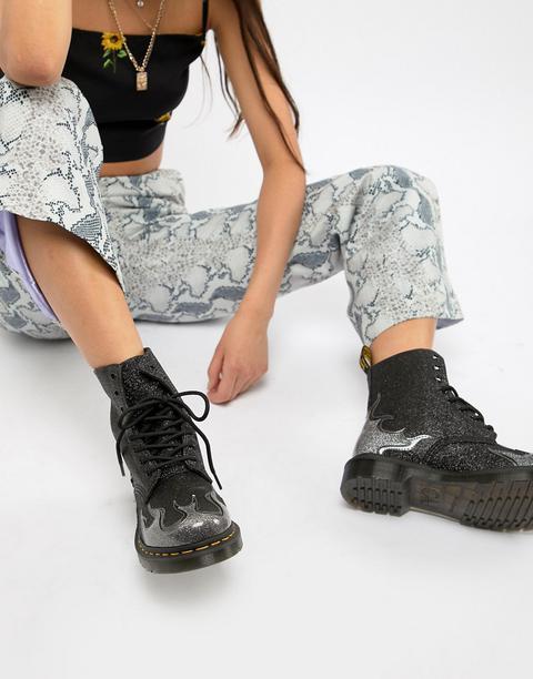 online hier elegante Form Geschäft Dr Martens – 1460 Pascal – Flache Schwarze Ankle-boots Mit Glitzer-flamme  from ASOS on 21 Buttons