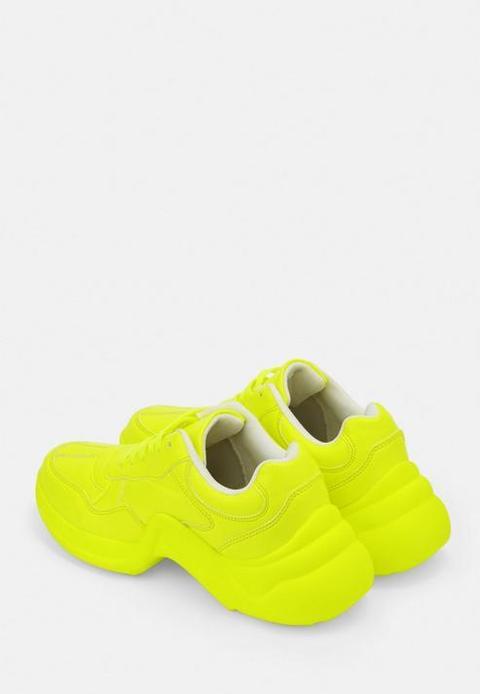 Neon Yellow Chunky Sole Trainers, Neon