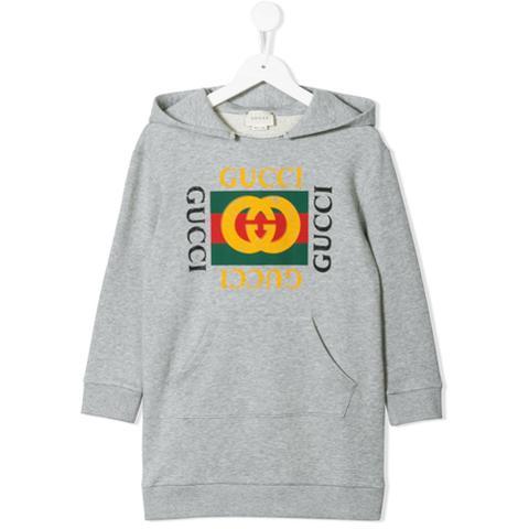 b86ec98f Gucci Kids Vestido Estilo Sudadera Con Estampado Del Logo - Gris de Farfetch  en 21 Buttons