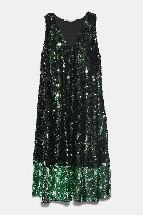 Vestido Lentejuelas Color Block de Zara en 21 Buttons