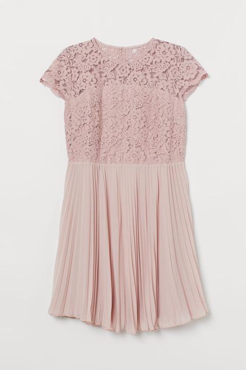 H & M+ Vestido Plisado De Encaje - Rosa de H&M en 21 Buttons