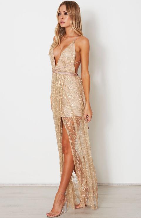 Akela Glitter Maxi Dress Gold
