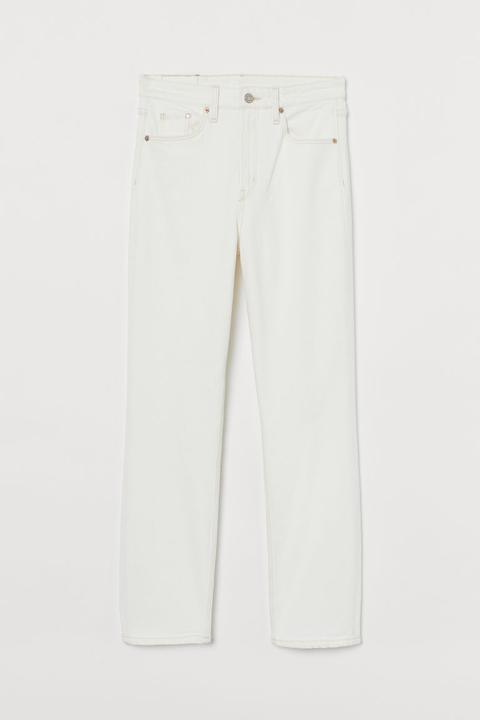 Vintage Slim High Ankle Jeans - Blanc