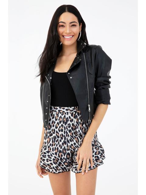 Multi Leopard Layered Hem Flippy Shorts