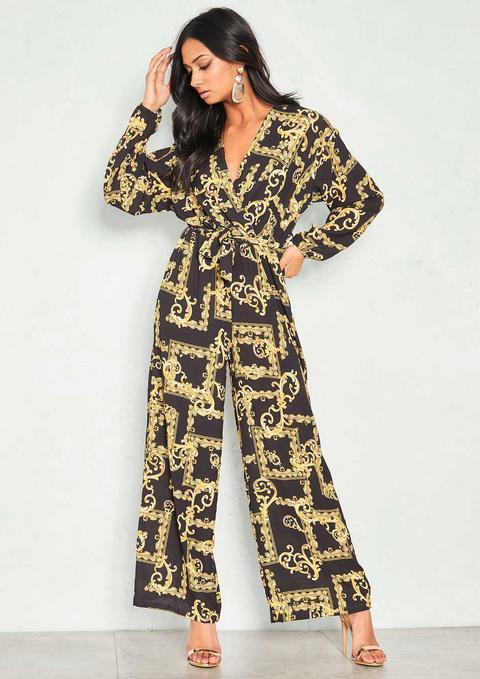 Lily Black Scarf Print Wide Leg Jumpsuit