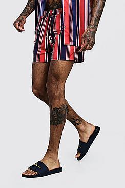 nuovo concetto 12657 d4b00 Pantaloncini Da Mare Lunghezza Media A Righe Verticali from ...