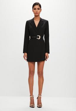 Peace + Love Vestido Blazer Con Cinturón En Negro de Missguided en 21 Buttons