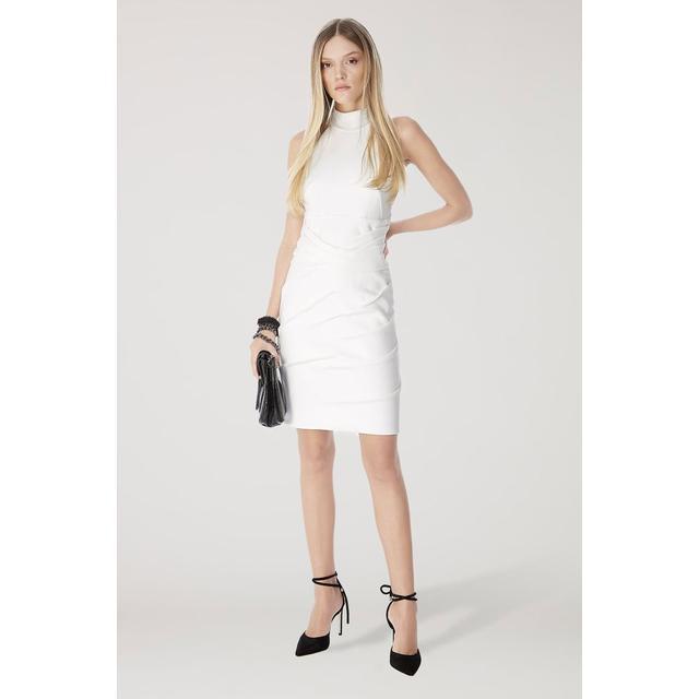 Vestido De Malha Estrutura Off White Gola Alta Drapeado From Animale On 21 Buttons